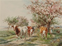 cows on a path lined with flowering trees by marie dieterle