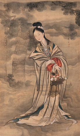携花仕女 maiden with flowers by gu anren