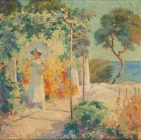 jeune femme à l'ombrelle en bord de mer by antoine daens