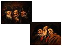 charakterköpfe beim rauchen (pair) by roman arregui