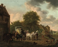 an elegant company in a carriage, stopping in a village by tethart philip christian haag