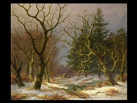 winter-waldlandschaft mit enten by caesar bimmermann