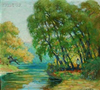brook at early spring (+ on the river bank; 2 works) by chauncey m. adams