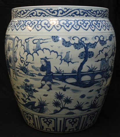 mid to late ming dynasty blue white planter