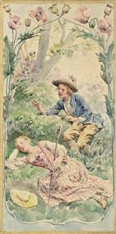 dormez, dormez, cheres amours (illustrated); le furet du bois joli; la boulangere; que j'aime a voir les hirondelles; cadet rouselle (5 works) by maurice leloir