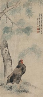 雨打鸡 (rooster in rain) by xiang shengmo
