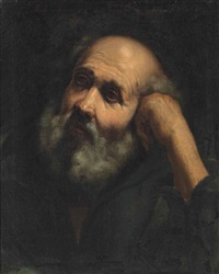 head of a male saint by guido reni