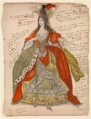 costume design for the queen from sleeping beauty by leon bakst