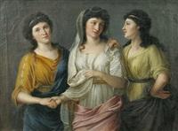 junge, festlich gekleidete frau, von zwei freundinnen umgeben by eberhard wächter