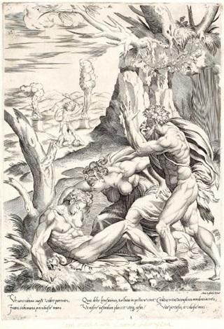 adam und eva betrauern den toten abel after p del vaga by perino del vaga