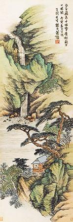 亭阁观瀑图 by xiao xun