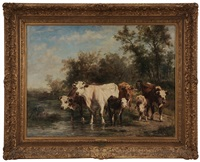 cows crossing stream by marie dieterle