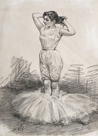 ballett tänzerin beim auskleiden den tutu zu ihren füßen by charles paul renouard