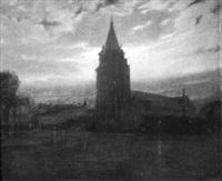 kirche in der abenddämmerung by jean-joseph enders