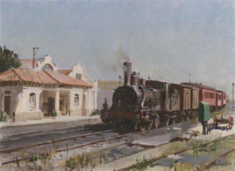 steam train at the station by terence cuneo