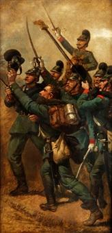 bayerische infanteristen beim siegesjubel by louis (ludwig) braun