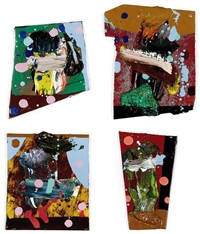 untitled (500 paintings for witte de with) (set of 4, various sizes) by fiona rae