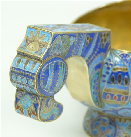 russian enameled silver kovsh with miniature
