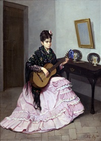 joven con guitarra by juan cabral y bejarano