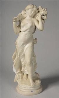 jeune fille à la branche de lilas by hippolyte françois moreau
