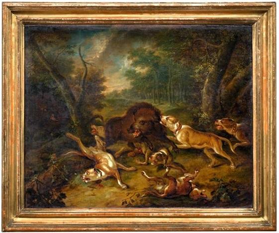 hunde greifen wildschweine an eine hundemeute attackiert zwei bären pair by carl borromaus andreas ruthart