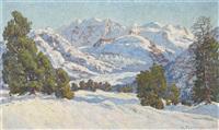 sonnige winterlandschaft im gebirge by hugo wilhelm pfahlmer