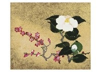 white camellias and red plum by yuki ogura