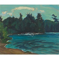 north milne lake from the beach, morning, temagami by naomi jackson groves