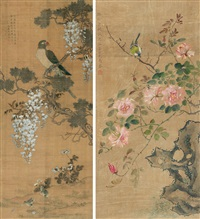 花鸟 (flowers and birds) (2 works, various sizes) by ma quan