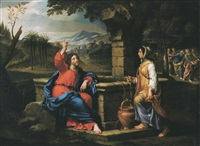 christ and the samaritan women near the well by pierre mignard the younger