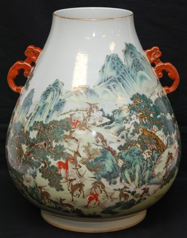 18th19th c chinese porcelain deer scene vase
