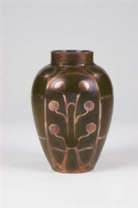 vase mit kupferauflage by carl goldberg