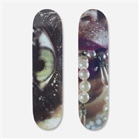 eye and pearly skateboard decks (pair) by marilyn minter