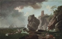 a stormy coastal landscape with a shipwreck by francesco fidanza