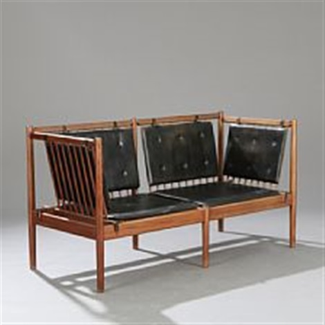 A Solid Mahogany Sofa Bench Sides And Back With Vertical Slats Seat Woven