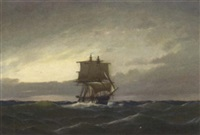 a frigate in open waters in the evening light by heinrich leitner