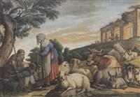 hirten mit herde in südlicher ruinenlandschaft by rosa achenbach