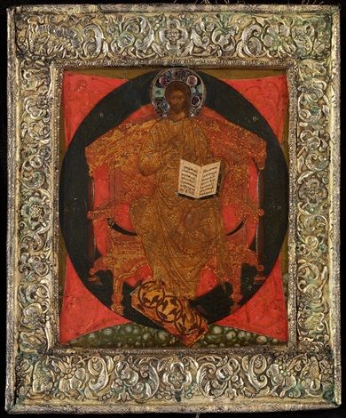 christ enthroned in majesty in a silver gilt basma