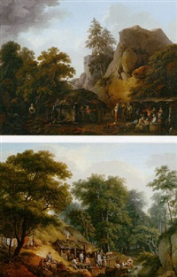 mountainous landscape with figures before a lodge by joseph stephan