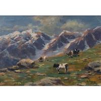 weidende kühe auf der alp by silvio poma