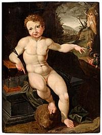 vanitas med jesusbarnet förebådande sin död och uppståndelse by haarlem school