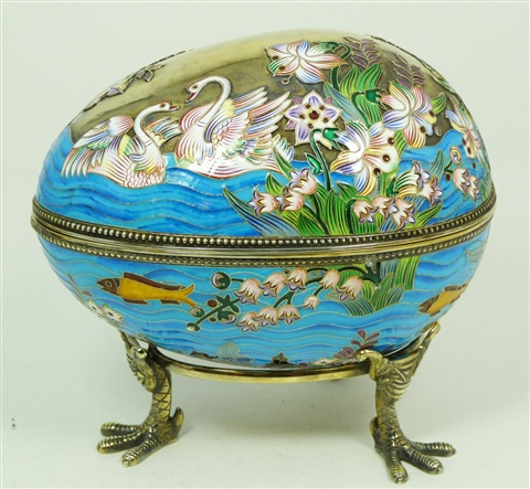 russian silver swans egg box