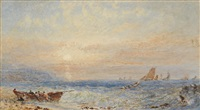 seascape at sunset by george weatherill