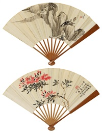 溪山幽居·花卉 (recto-verso) by liang gongyue and xiao junxian