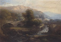 figures on a bridge in a sunlit river valley, a village beyond by charles h. poingdestre
