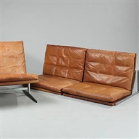 two-piece wall-hung sofa with mounting brackets and an easy chair (model bo-585 and bo 561) (pair) by preben fabricius
