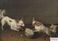 zwei zwergspaniel an einer silbernen zuckerschale by johann friedrich grooth