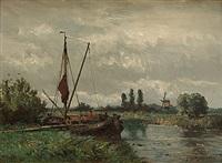 holländskt flodlandskap by gerardus johannes koekkoek
