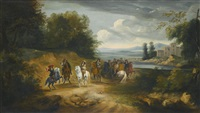 louis xiv and other cavaliers in an extensive landscape by adam frans van der meulen