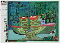 kolumbus regentag in indien (from look at it on a rainy day) by friedensreich hundertwasser